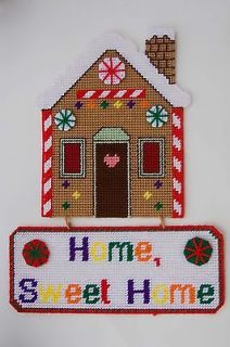 Gingerbread House Home Sweet Home Plastic Canvas Pattern  Christmas
