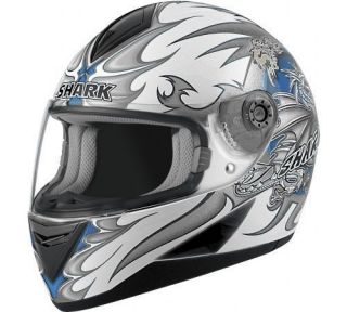 Shark S650 Wings Helmet XLarge White Blue Street Bike Motorcycle