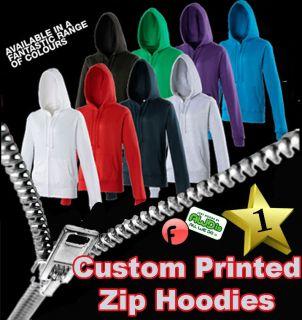 Custom Printed Personalised Zip Hoodie   Design your own   Add Your