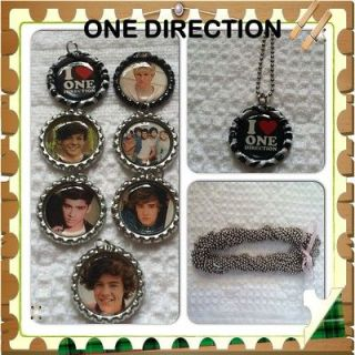 ONE DIRECTION Bottle Cap Necklaces, Lot Of 7 with 24 Ball Chain
