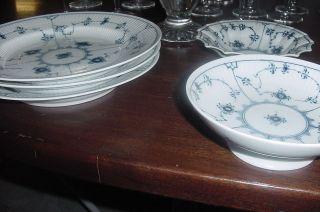 14 pc Blue Fluted Half Lace Royal Copenhagen 3 dinner plates 2 c&s