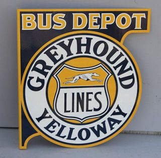 Newly listed GREYHOUND BUS DEPOT Yelloway Flange Sign reissue
