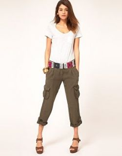 Miss Sixty Green Linen Cargo Pants With Tribal Belt Size 34 Regular