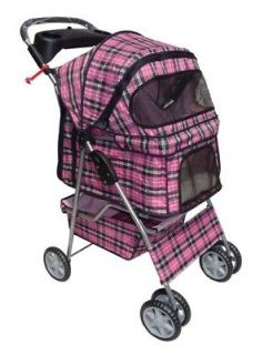 NEW Classic Pink Plaid Four Wheels Pet Dog Cat Stroller w/Rain Cover