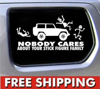 Stick Figure Jeep Family Nobody Cares truck funny stickers car decal
