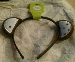 NEW BROWN POLKA DOT TEDDY BEAR EARS GIRLS HEADBAND SIZE 3 YRS NWT