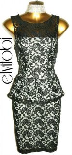 NEW OASIS SEXY BLACK LACE VINTAGE STYLE PEPLUM PENCIL WIGGLE PARTY