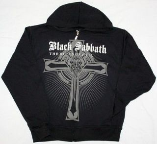 BLACK SABBATH THE RULES OF HELL ZIPPED HOODIE WITH POCKETS NEW BLACK