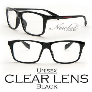 Black Clear Lens Glasses Unisex Retro Nerd Nerdy Emo Old School