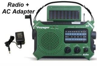 Kaito Voyager NOAA Emergency Radio Portable AM FM + AC Adapter Green