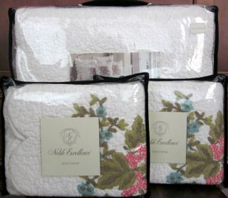 Noble Excellence CHERISH Embroidered Full Queen Cotton Quilt + Shams