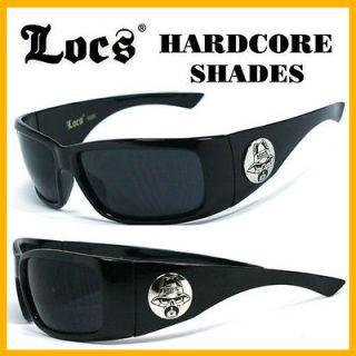 Locs Men Cholo Biker Sunglasses+Free Pouch   Black LC59