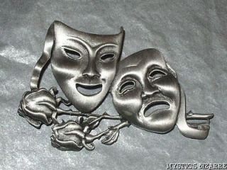 VINTAGE SIGNED JJ PEWTER PEWTER TONE THEATRICAL COMEDY TRAGEDY MASKS