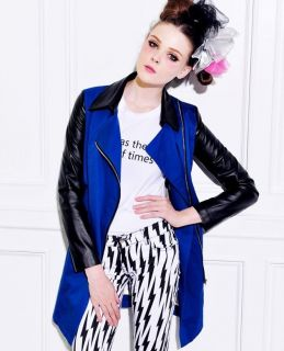Cool Womans Leather Sleeve Long Belted Contrast Trench Coat Jacket