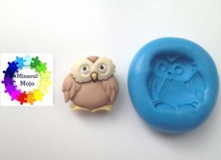 Owl #2 Silicone Mould Cupcake Card Toppers, Sugarcraft, Fimo