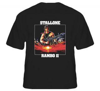 stallone rambo ii retro movie t shirt