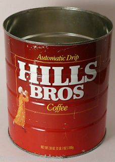 VINTAGE Advertising 1970s 39 oz HILLS BROS Automatic Drip Coffee Can