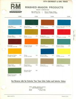 1974 chevrolet gmc truck paint color chart 74 rm inmont