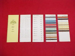 DODGE PLYMOUTH MOPAR CHALLENGER CHARGER COLOR PAINT CHIPS CHART 74