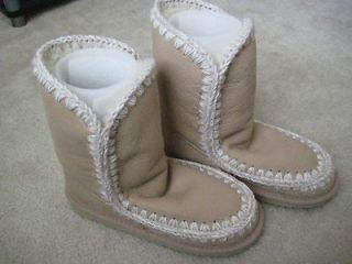 bnib mou sand eskimo textured leather boots $ 365