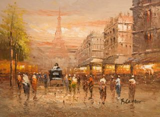 12x16 Canvas Wall Art Oil Painting Hand Painted   Paris Eiffel Tower