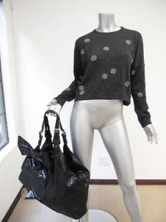 NWOT R.E.D Valentino Black Shiny Embossed Leather Large Bow Hobo Bag