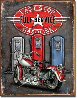 listed Vintage Gas Station Metal Sign Last Stop Garage Motorcycle