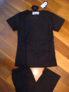 Fior Stretch Stylish Nursing Medical Scrubs Set Black sd Spandex XS S