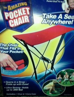 The Amazing Pocket Chair, fits in your pocket holds up to 250 lbs open
