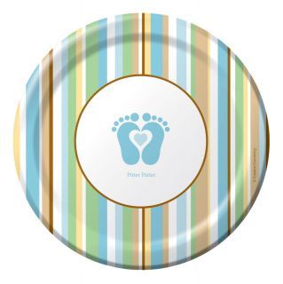 tiny toes boys blue baby shower supplies dessert plates time
