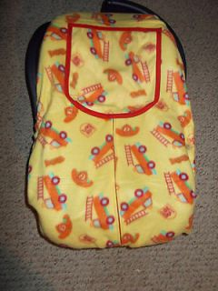 infant car seat cover fire truck print