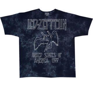 new led zeppelin us 77 tie dye black medium t shirt