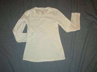 NEW JUSTICE GIRLS SIZE 12 WHITE SOLID/PLAIN LONG SLEEVE T SHIRT/TOP