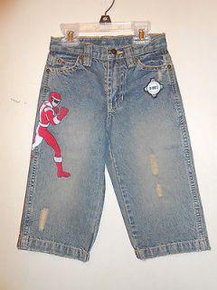 Boys Red Power Ranger Adjustable Waist Denim Jeans Blue 2