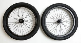 Odyssey Quadrant Wheel Set with Primo Tires BMX Bike black wheels 36H