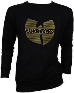 Wu tang Clan GOLD FOIL Hip Hop RZA Method Man Black Sweater JUMPER S,M