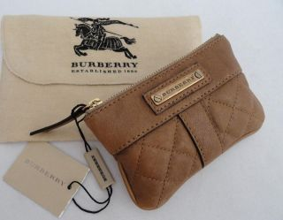 BN Auth Burberry Tan Quilted Leather Small Wallet / Coin Purse Bag