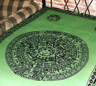 Green aztec calendar tapestry bed sheet wall hanging one day shipping