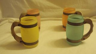 Vintage Siesta Ware Frosted Mugs with Wooden Handles Set of 4 Very