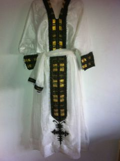 ETHIOPIAN TRADITIONAL EMBROIDERED WOMEN DRESS WITH MATCHING SAWEL