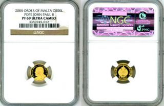 2005 GOLD MALTA 500 LIRAS POPE JOHN PAUL II COIN NGC PROOF 69 ULTRA