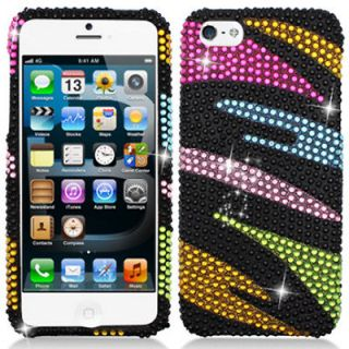 newly listed rainbow zebra bling diamond hard case cover for