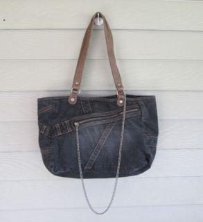 Womens Black Denim & Leather Satchel Bag Handbag Purse with Chain