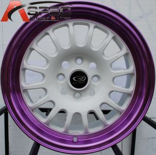 15X7 ROTA TRACK R2 4X100 +40 WHITE CANDY TONE PURPLE WHEEL FITS CIVIC