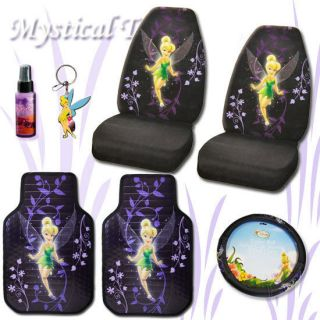 New 6 PC Tinkerbell Mystical Car Seat Covers Wheel Cover Mats Set With