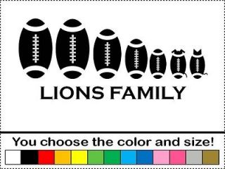 Lions Football Family Sticker Vinyl Decal Car Foot Ball Detroit