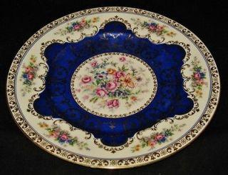 Schlaggenwald Dinner Plate, Blue Scallops Gold Filigree, Flowers