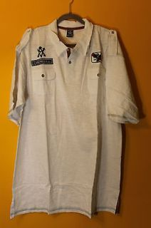 New Avirex logo and eagle two pockets mens polo shirt white M