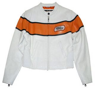 HARLEY® WOMENS RACING WHITE LEATHER JACKET,CERTIFIED PRE OWNED