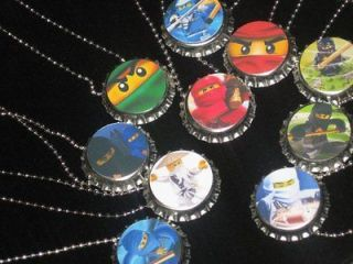 ninjago bottlecap ball chain necklace birday party favors lot of 10